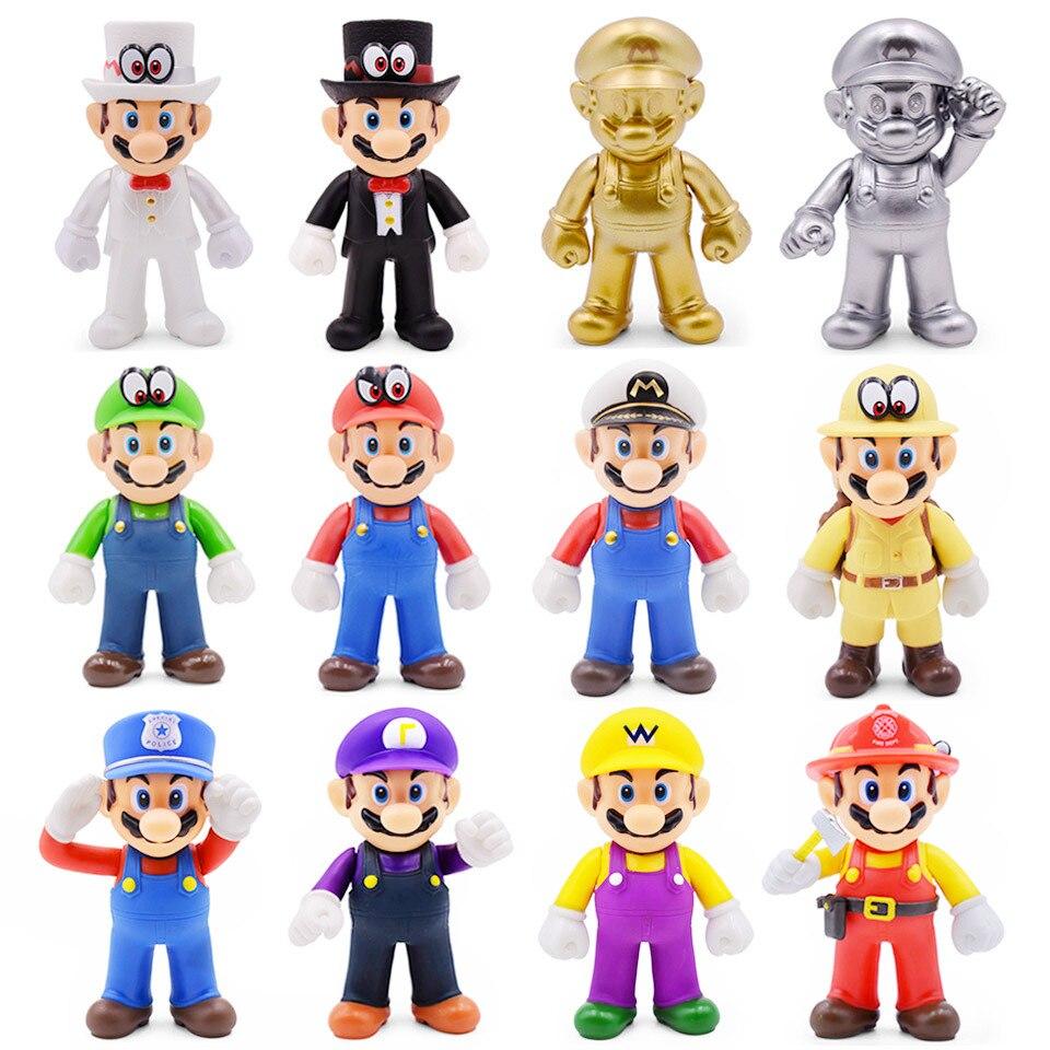 "8-15 см Фигурки ""Супер Марио"" игрушки Super Mario Bros Bowser Luigi Koopa Yoshi Mario Maker Odyssey ПВХ фигурка модель куклы игрушка"