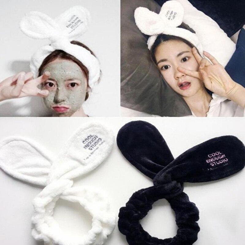 1 unidad letras cómodas bonitas Orejas de conejo Spa ducha hacer para lavar la cara cinta de maquillaje bandas para el cabello