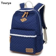 Tourya Vintage Canvas Women Backpack Cute School Bags For Teenagers Girls Dot Printing Female Schoolbag Laptop Bagpack Mochila