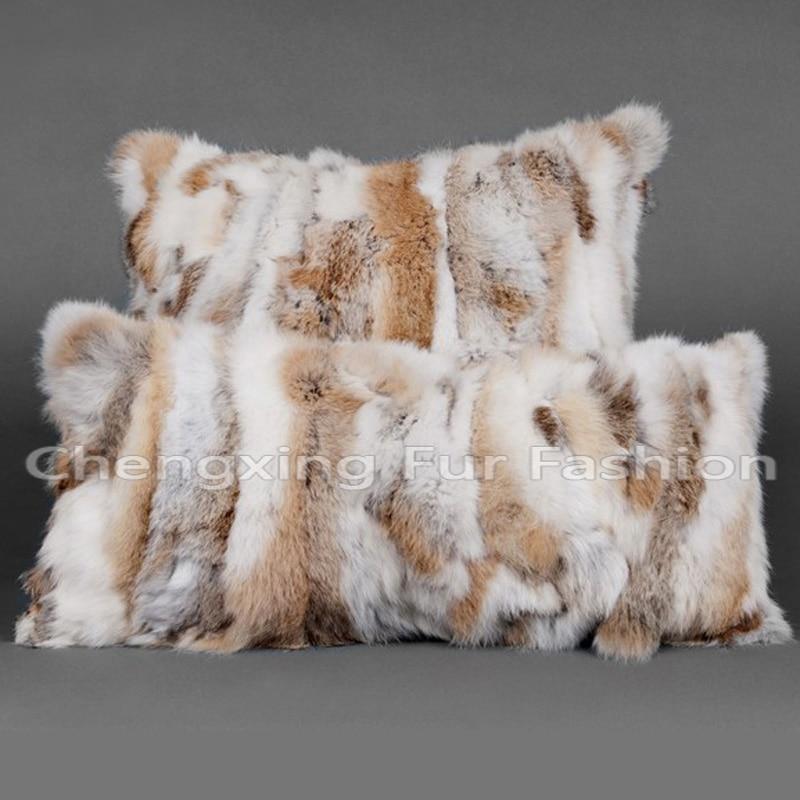 غطاء وسادة من فرو الأرانب الأصلي مريح منزلي 50x50 سنتيمتر CX-D-17A