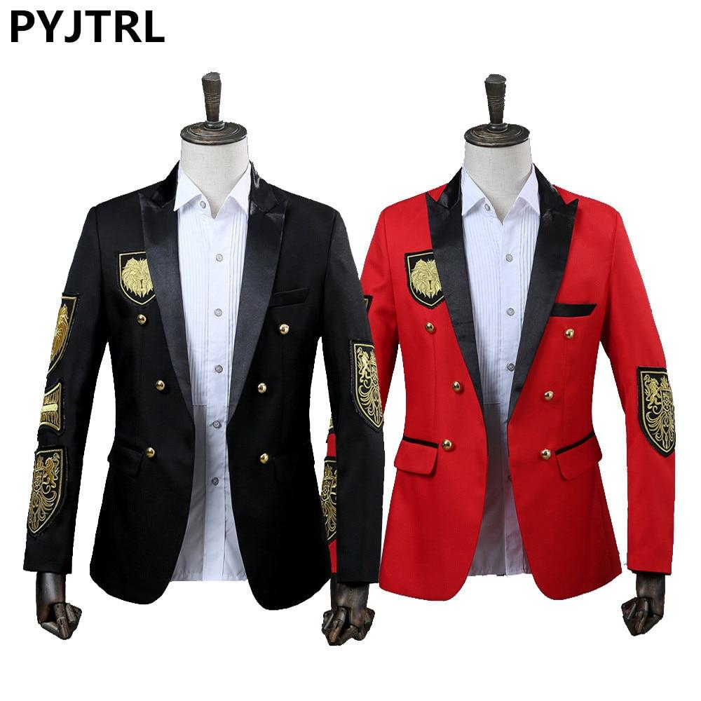 Pyjtrl masculino blazer medalha militar solto casaco de palco terno cantor jaqueta desempenho anual preto vermelho traje homme