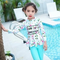korean style 2020 cute floral print rashguard for kids girls top quality surfing swimsuit quick dry snorkeling clothes m 4xl