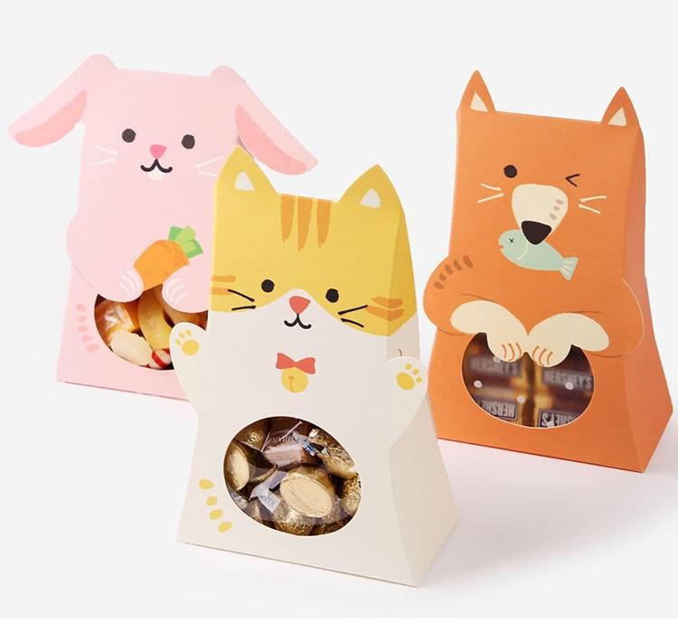 Бумажная коробка для конфет с милыми котами и животными, 12 шт., украшения на день рождения, бумажный подарок для детей, сумка для шоколада с о...