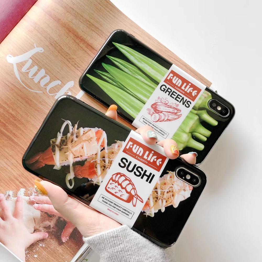 Японский Суши закуски милый чехол для телефона для iphone 7 8 6 6s plus мягкий TPU чехол Забавный узор чехол для iphone Xs MAX XR задняя крышка