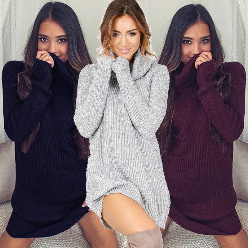 2017 Women Cowl Neck Loose Long Sleeve Oversize Sweater Turtleneck Casual Sweater