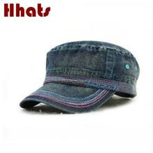 . Chapeau en jean ajustable pour femmes et hommes   Chapeau militaire décontracté en denim pour femmes et hommes, casquette plate dété pour hommes, casquette militaire féminine