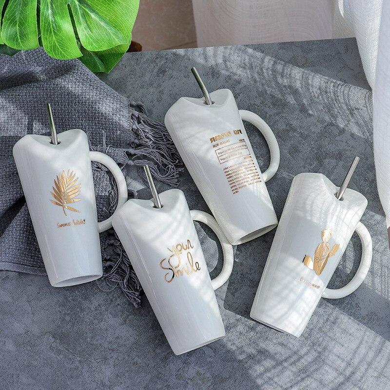 Creative Glod Cactus Leaf Letter Ceramic Coffee Mug with Stainless Steel Straw Porcelain Coffee Milk Tea Cup Drinkware