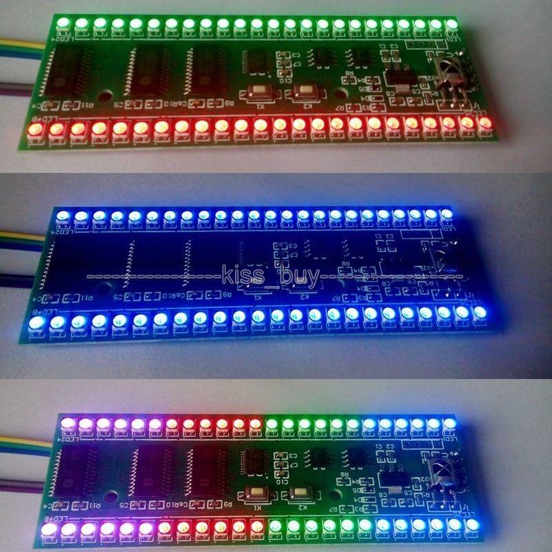 RGB MCU, patrón de pantalla, doble canal, estéreo, 24 LED, indicador de nivel, Medidor de VU módulo DC5V