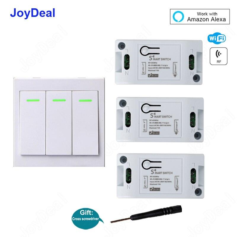 Controlador inteligente para hogar Alexa, enchufe de pared inteligente con Wifi, Control remoto inalámbrico, módulo de automatización de 10A/2200W y 433 Mhz