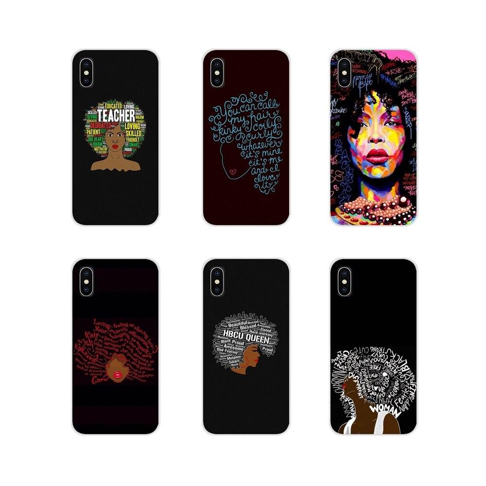Para Samsung Galaxy A5 A6S A7 A8 A9S estrella J4 J6 J7 J8 primer Plus 2018 casos de silicona cubierta negro palabras de pelo Natural para mujer en Afro