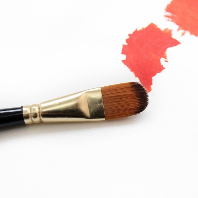 Artist Paint Brush Set 5Pcs High Quality Nylon Hair Wood Black Handle Watercolor Acrylic Oil Brush Painting Art Supplies 6