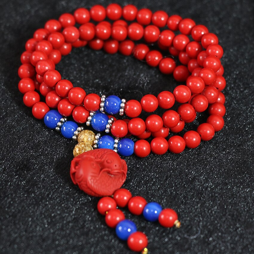 Cadena larga pulsera envolvente multicapa 18 estilo Taiwán cinabrio rojo sintético 6mm redondo 108 cuentas brazalete amuleto colgante joyería A4