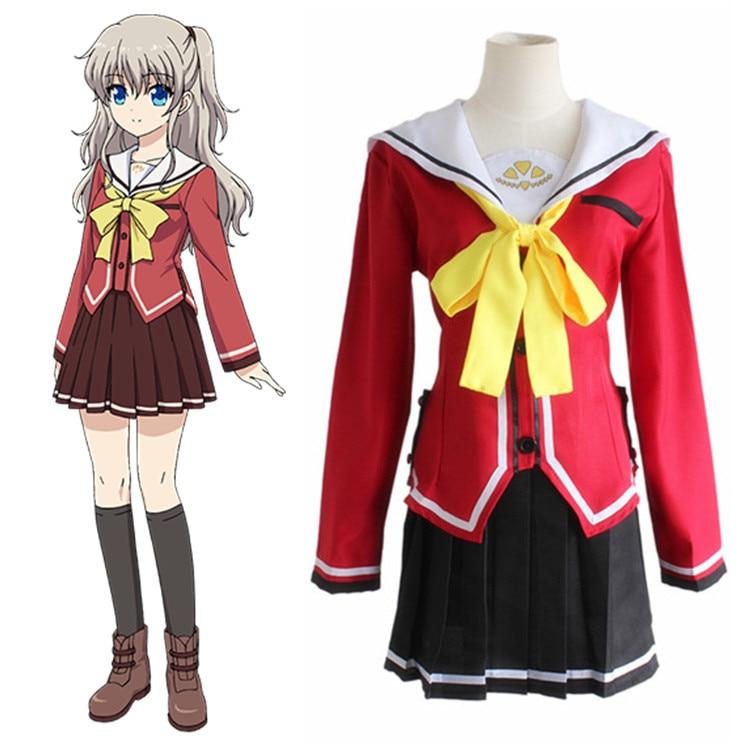 Tomori Nao uniforme escolar Anime Charlotte Cosplay disfraz Top falda pajarita conjunto completo mujeres Sailor vestido Tomori Nao falda conjuntos