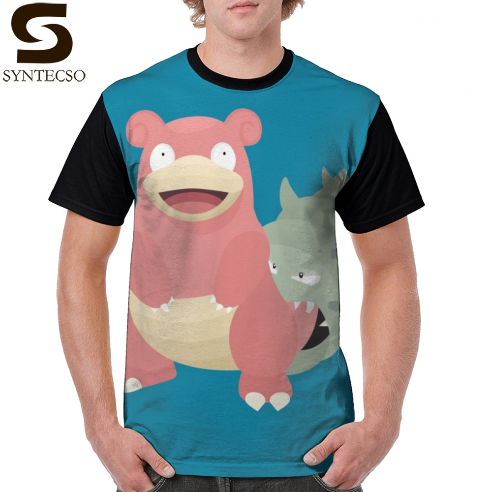 Camisa de t slowpoke slowbro camisa de t oversized 100 poliéster camiseta gráfica impresso streetwear dos homens bonito mangas curtas tshirt