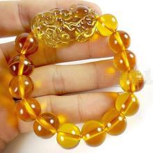 GRATIS VERZENDING groothandelsprijs 16new ^^^^ Feng Shui Geel Kristal Pi Yao Pi Xiu Xie Armband Voor Rijkdom 14mm