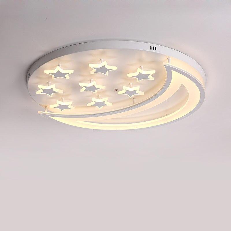 Modern yıldız uzaktan kumanda ile Led tavan lambası oturma odası çocuk yatak odası dekoru ev aydınlatma armatürleri beyaz Metal akrilik ışık