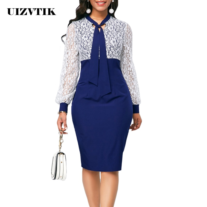 White Lace Summer Autumn Dress Women 2019 Casual Plus Size Slim Office Bodycon Dresses Elegant Sexy Long Sleeve Party Dress 5XL vintage sexy print patchwork bodycon dresses women 2021 summer autumn casual elegant slim office party dress plus size 5xl