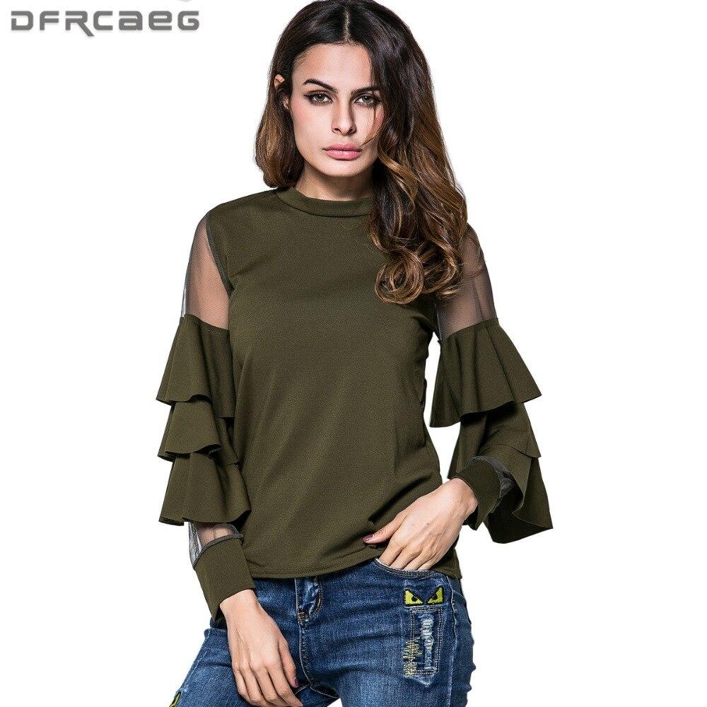Mujer blusas de algodón de retazos suelto camisa de malla ropa moda 2020 primavera manga acampanada Blusa verde militar señoras Tops