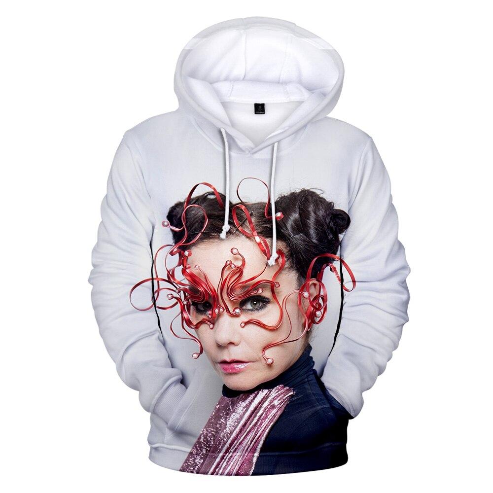 Sudadera con capucha con estampado 3D Bjork para hombres/mujeres primavera Otoño Invierno Kpop Harajuku sudadera cómoda con capucha