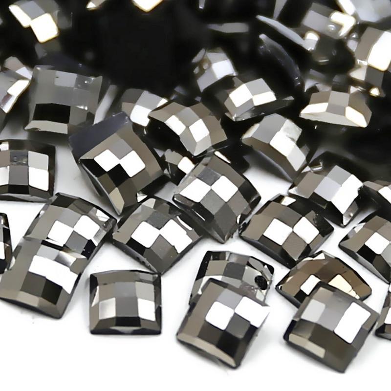 500 unids/lote 5x5mm Jet hematita cuadrado Rhinestone, Nail Art acrílico cristales no Hotfix Flatback glitters para trabajo DIY