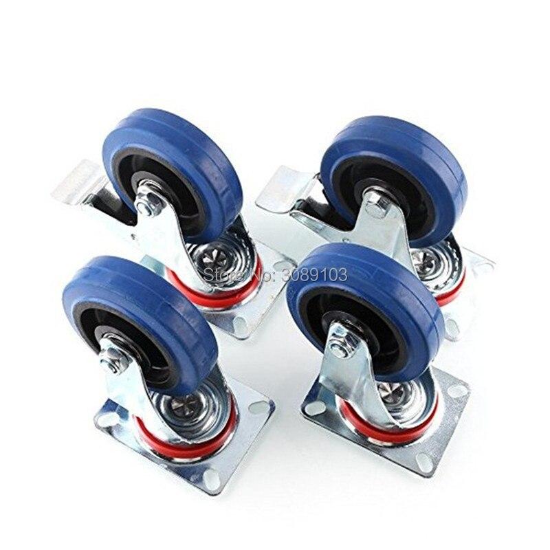 Rueda giratoria de goma azul elástica Industrial de 4 Uds 4 pulgadas, rueda giratoria de servicio medio para carrito