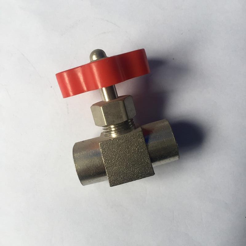 """1 Pza 1/8 """"1/4"""" rosca hembra mango de plástico naranja Metal de alta presión Durable tubo aguja tipo válvula de globo"""