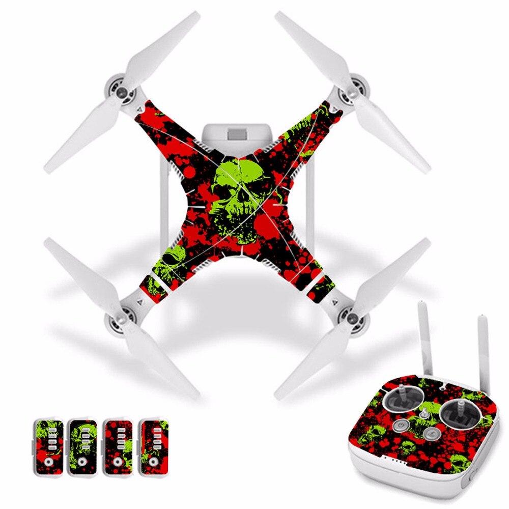 [J30049] sangre y PVC impermeable película protectora decorativa para DJI Phantom 3 cuerpo de Drone película de protección + control remoto cubierta