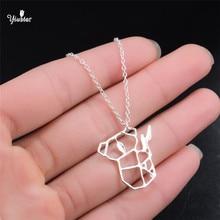 Yiustar2018 nouvelle mode Origami pendentif Animal Koala collier bijoux géométrique pendentif collier mignon Koala bébé Animal amant Gi