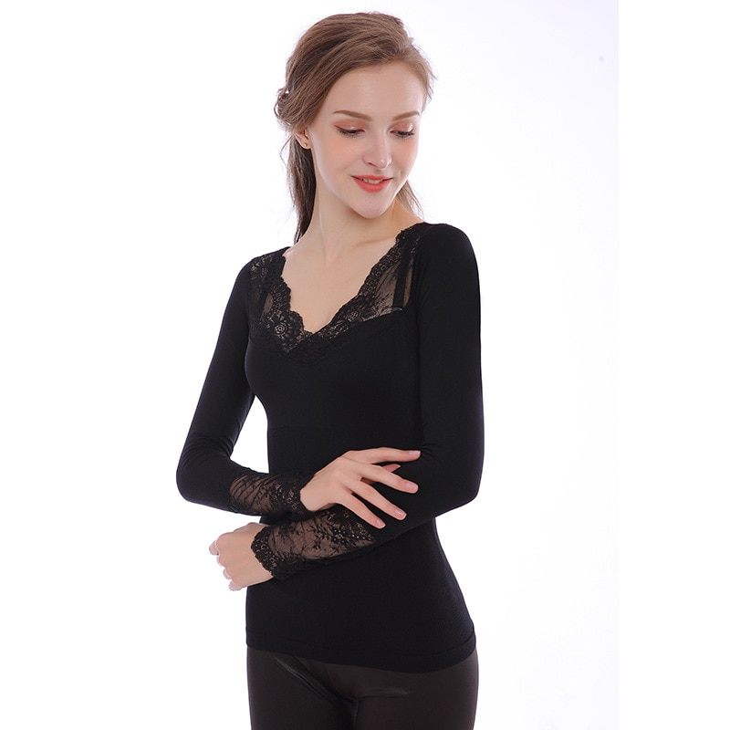 Autumn and winter thin sexy V-neck lace thermal underwear women Seamless versatile slim slimming body bottoming autumn clothes enlarge