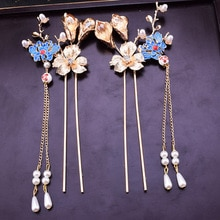 Palillos de pelo de perla de flor azul de estilo chino cloisonne gold bride's hair stick