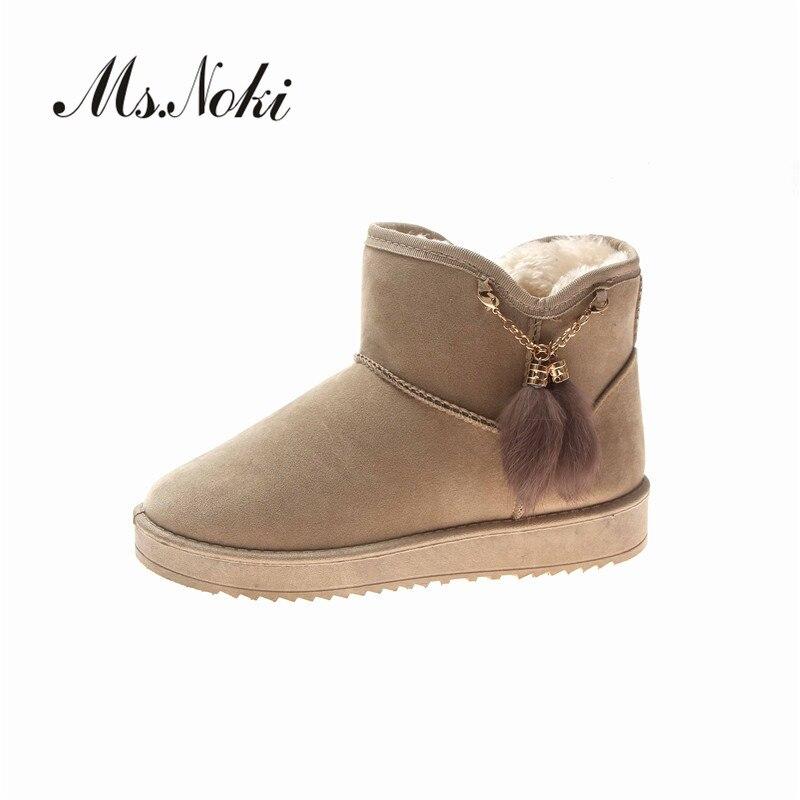Botas de Invierno para mujer planas con felpa peluda sólida botas de mujer de punta redonda flock botas de deslizamiento en plataformas botas de nieve para mujer