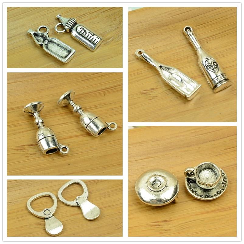 Água/leite/garrafa de bebida/cerveja/suco/café/copo de chá forma DIY antique em liga de prata charme pingente vintage jewelry making achados