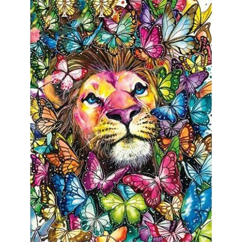 NOVA Pintura Diamante colorido leão Completa Broca Quadrado Bordado Diamante do ponto da cruz Kits Handmade da borboleta Decoração do Quarto de arte