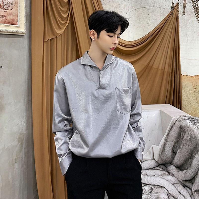 Men Fashion Casual Pullover Shirt Male Black Gray Long Sleeve Shirt
