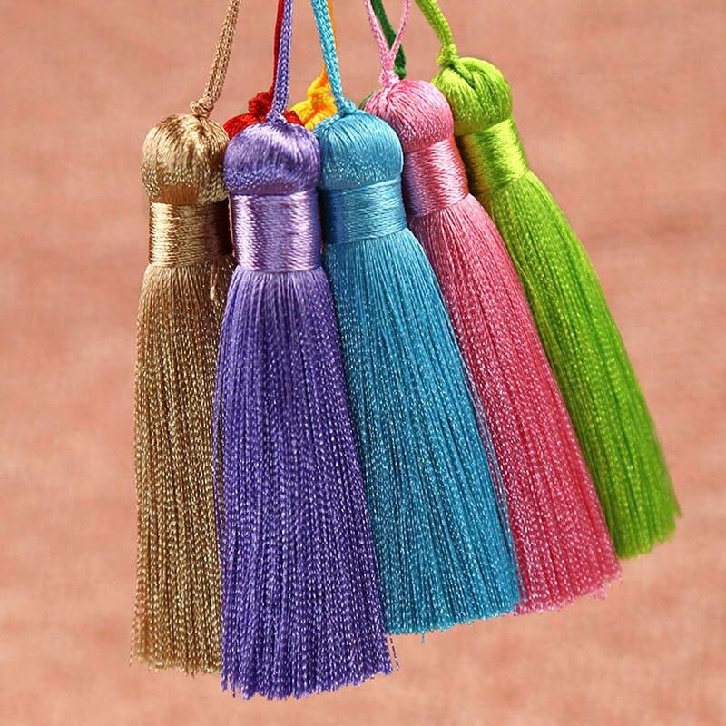 10pcs 8cm Tassel Brush Pendant Accessories for DIY Earrings Jewelry Making Silk Satin Tassel Handmade Crafts Findings Supplier
