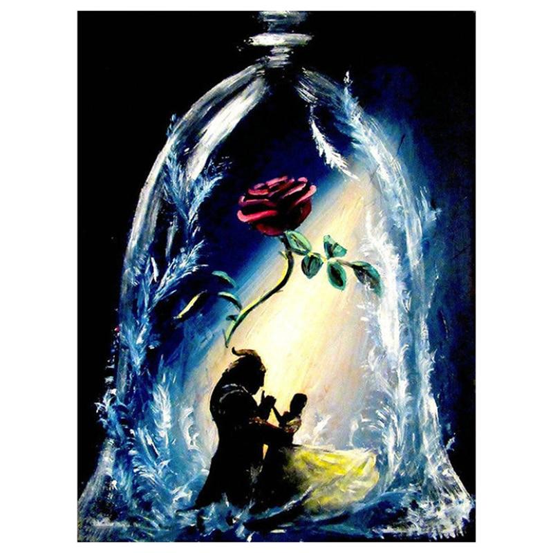 Diamante bordado cheio de Beleza e unicórnio rosa diy 5d diamante pintura Needlework ponto cruz strass enigma Da Disney