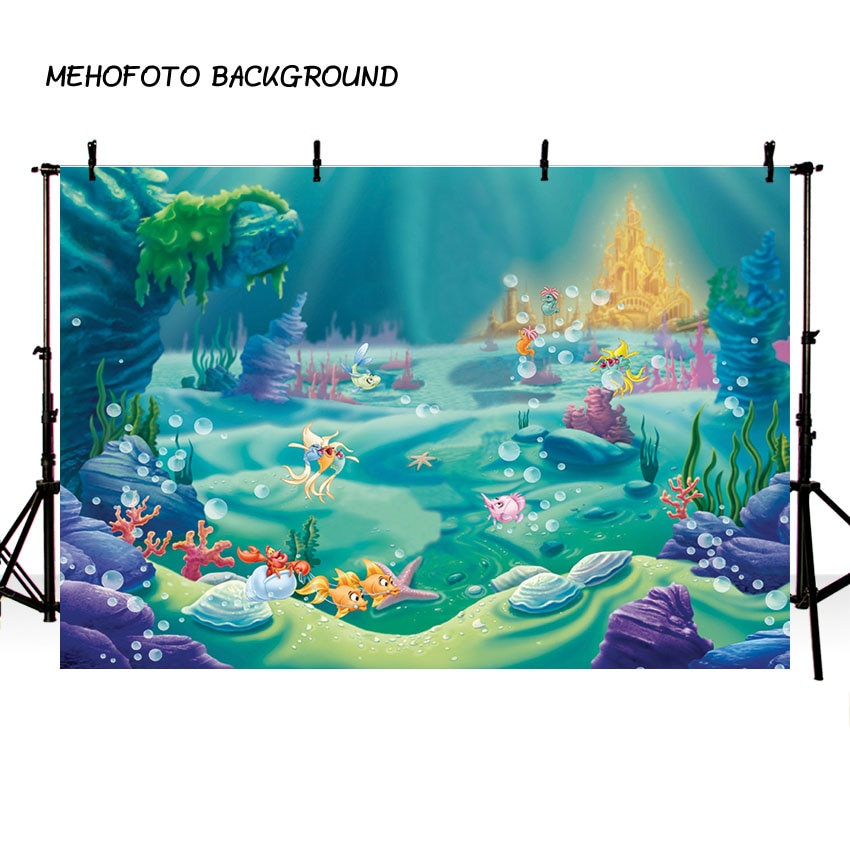 MEHOFOTO 7x5ft Blu Dell'oceano Del Fumetto Borsette Di Compleanno Della Sirena Fotografiche Bambino Sfondo per Lo Studio Sfondo Foto 220x150cm
