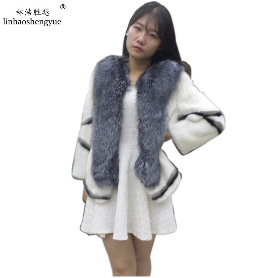معطف فرو المنك مع ياقة ثعلب, Linhaoshengyue معطف فرو المنك الأبيض والأسود
