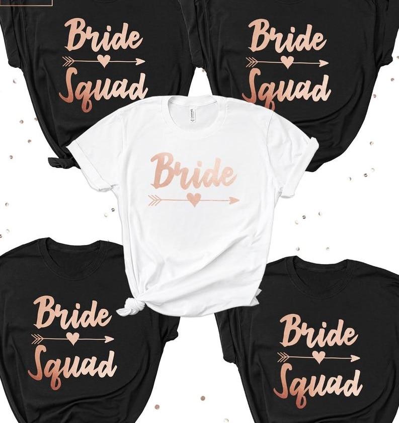 PADDY diseño de fiesta de despedida de solteros boda fiesta nupcial novia escuadrón de dama de honor, camiseta de oro rosa carta mujeres camiseta