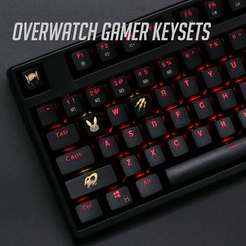Tampa de teclado mecânico em abs, 4 pçs/set teclas, luz de fundo, para overwatch, teclado mecânico ansi preto