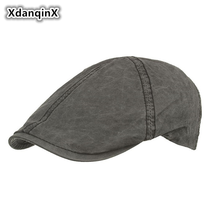 XdanqinX 2019 New-style Mens Washed Cotton Berets Light Edition Simple Retro Visor Hat Adjustable Size Brand Cap For Men
