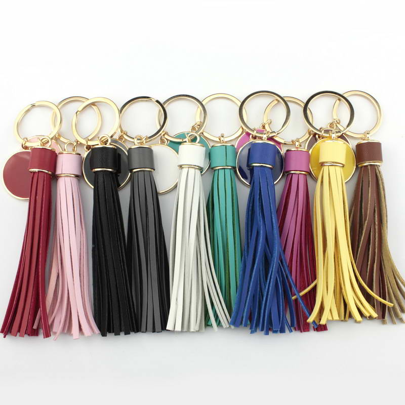 Zwpon couro longo borla balançar gota chaveiros para mulher criativamente monograma esmalte disco em branco chaveiros