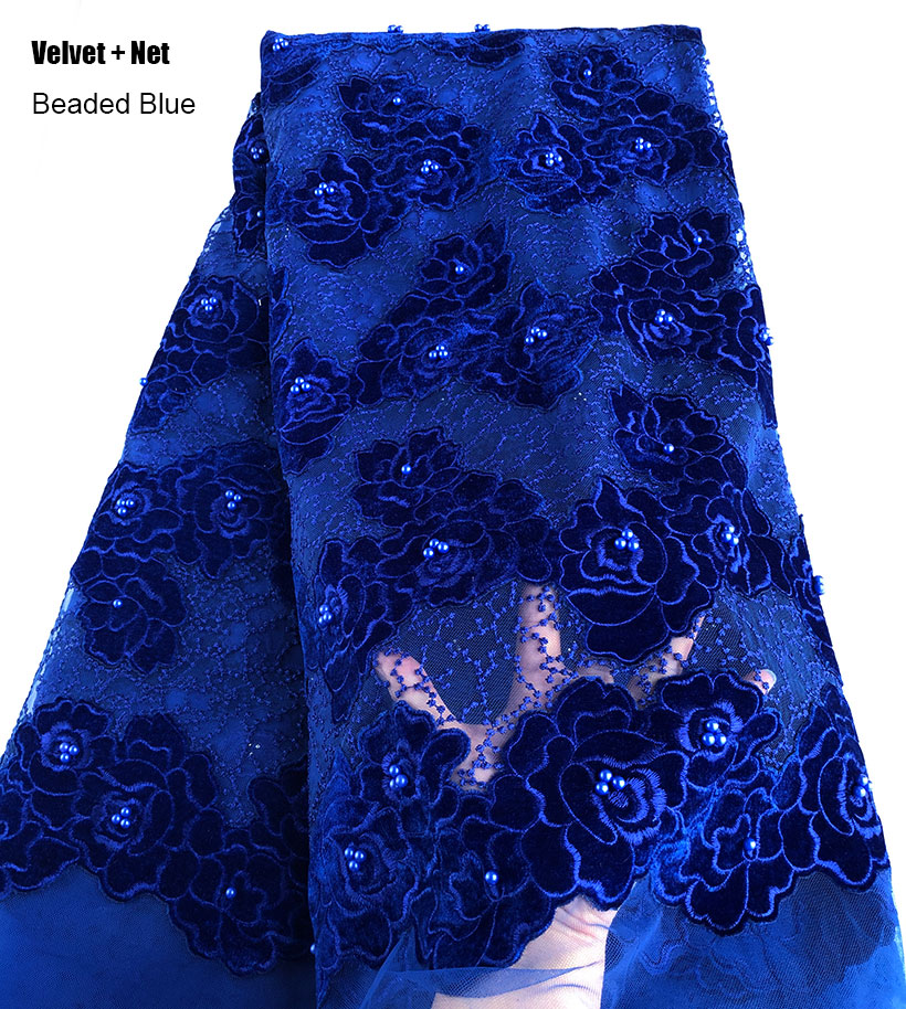 Tela de encaje francés azul con bordado de puntos, tela de encaje de tul africano de costura nigeriana, ropa de alta calidad, 5 yardas