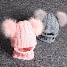 Écharpe pour bébé, chapeau avec pompon, Bonnet tricoté, pour bébé, garçon et fille, couleur unie, écharpe, Bonnet, 2 pièces/ensemble