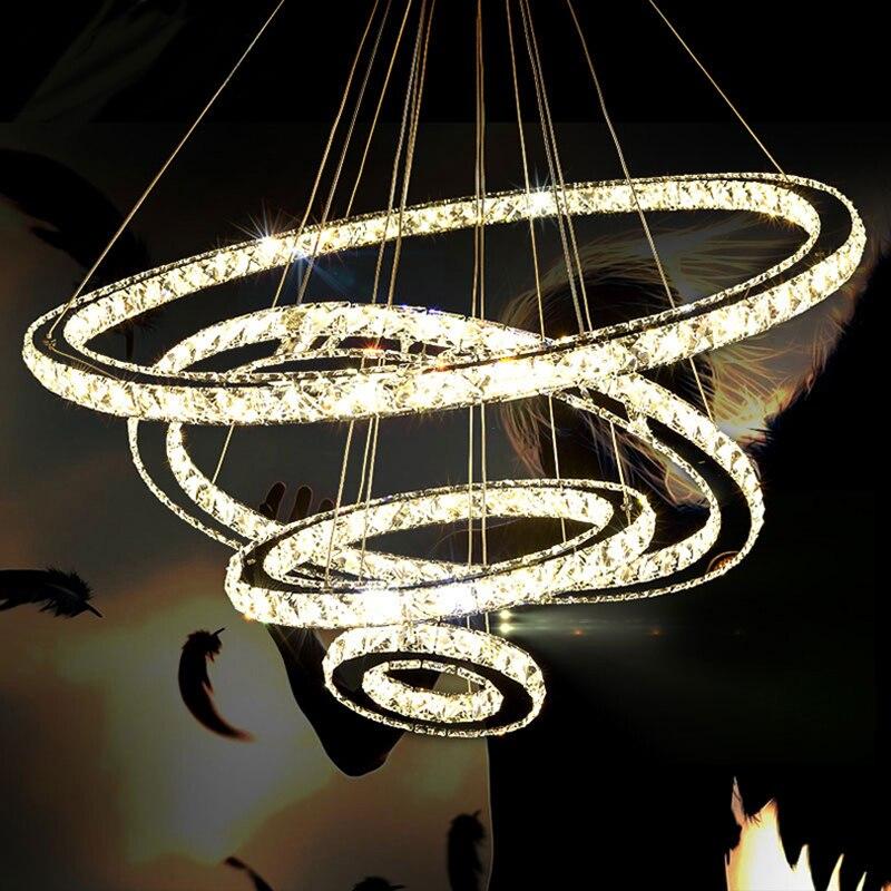 مصباح سقف LED على شكل حلقة من الكروم ، فولاذ مقاوم للصدأ ، ثريا لامعة قابلة للتعديل