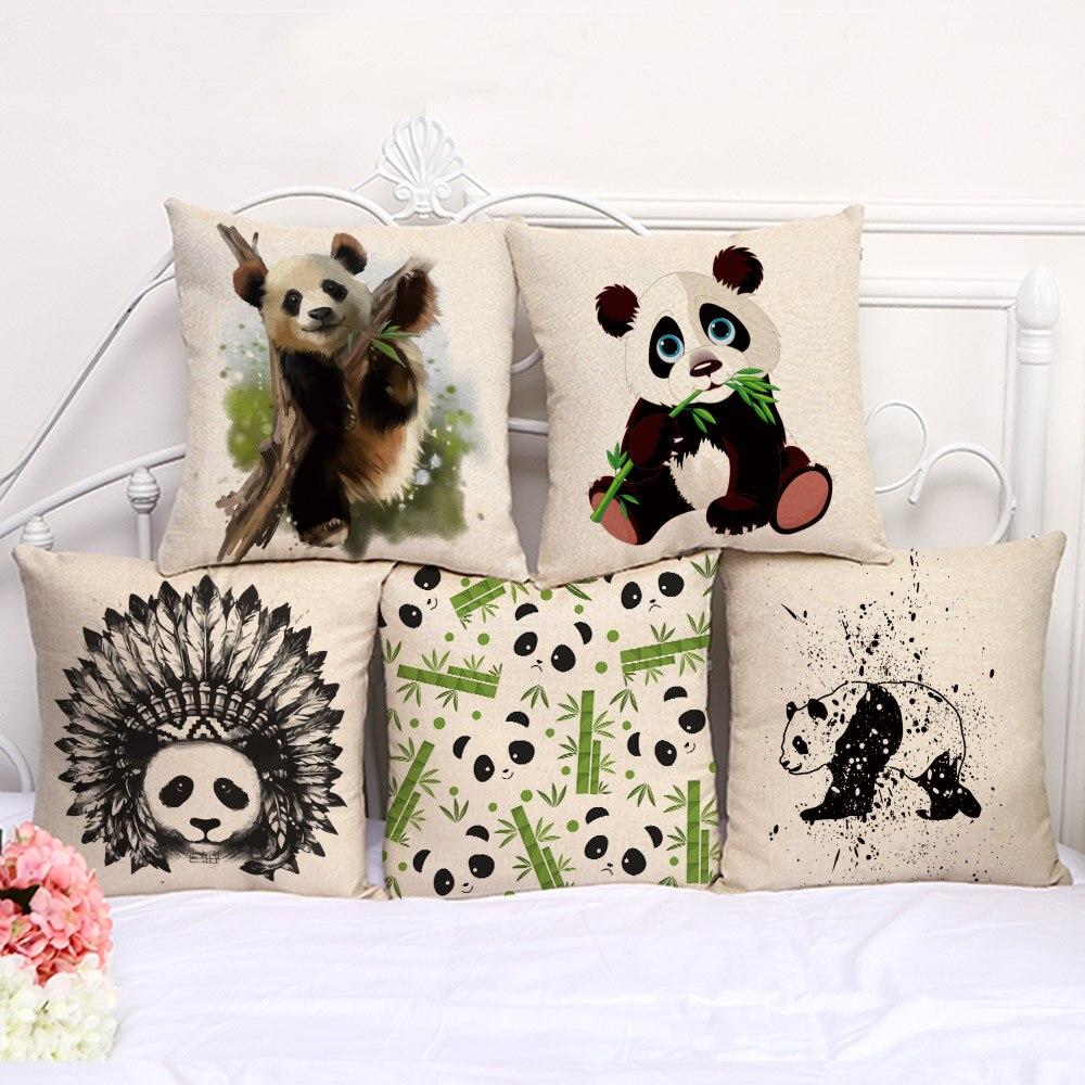Funda de almohada de 45x45 cm estilo de campo textil para el hogar para fundas de almohada accesorios funda de Pilow patrón lindo Panda