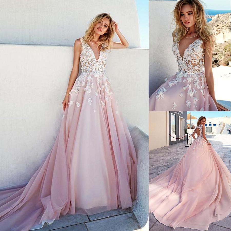 Romantic V-Neckline A-Line Wedding Dresses With 3D Beaded Handmade Flowers Cutout Open Back Long Train Pink Bridal Dress