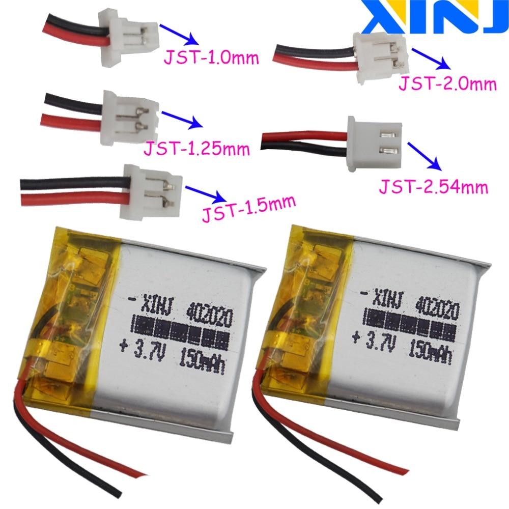 XINJ 2 uds 3,7 V 150mAh Li batería de polímero 2pin JST-PH/1,0/1,25/1,5/2,0/2,54mm 402020 GPS de navegación auricular altavoz DVR MP3/MP4