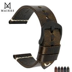MAIKES Hohe Qualität Vintage Grün Leder Edelstahl Pin Schnalle 20mm 22mm 24mm Uhr Zubehör Armband armbänder