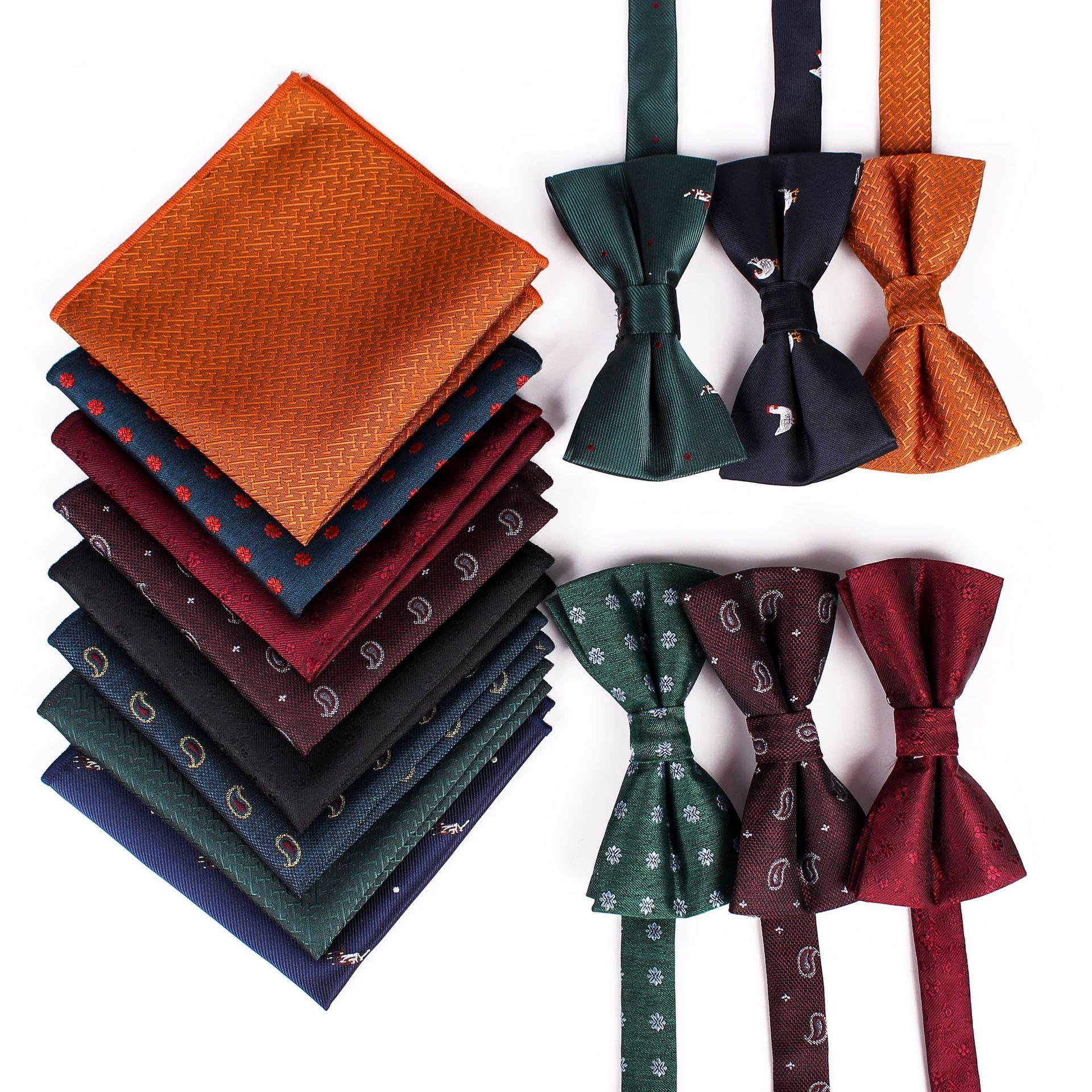 Upscale Mens Bow Tie Pocket Scarf Set Silk Jacquard Party Business Casual  Pocket Scarf Bowtie Wedding Prom Groomsmen Groom